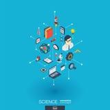 Icônes du Web 3d intégrées par Science Concept isométrique de réseau de Digital Photographie stock libre de droits