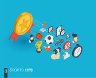 Icônes du Web 3d intégrées par sport Concept de croissance et de progrès Image libre de droits