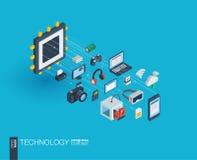 Icônes du Web 3d intégrées par technologie Concept de croissance et de progrès Image libre de droits