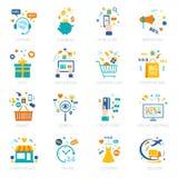 Icônes en ligne d'achats réglées Photos stock