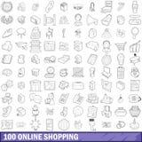 100 icônes en ligne d'achats réglées, style d'ensemble Photographie stock libre de droits