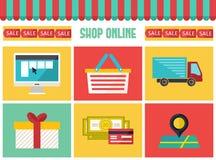 Icônes en ligne d'infographics de boutique réglées À la mode plat nous Photographie stock