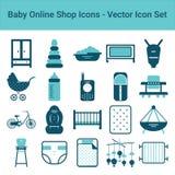 Icônes en ligne de boutique de bébé sur un fond blanc Ensemble d'icône de vecteur Images libres de droits