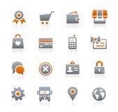 Icônes en ligne de magasin -- Série de graphite Images stock