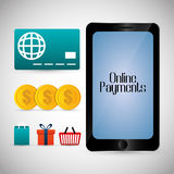Icônes en ligne de paiements Images libres de droits