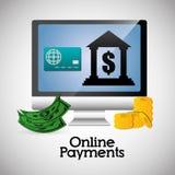 Icônes en ligne de paiements Photographie stock