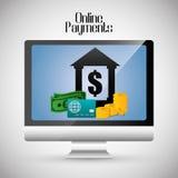 Icônes en ligne de paiements Photo stock