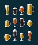 Icônes en verre de bière réglées Images stock