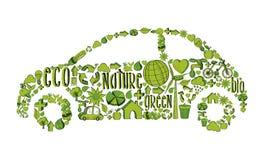 Icônes environnementales ecocar vertes d'isolement Images stock