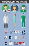 Icônes et avatars de médecine réglés Vecteur Photographie stock libre de droits