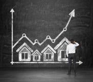 Icônes et diagramme d'immobiliers Photos libres de droits