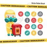 Icônes et docteur de Biohazard de précaution avec le rouge
