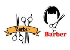 Icônes et emblèmes de coiffeur Photo stock