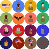 Icônes et ojects de l'Amérique Etats-Unis de jour de vétérans Photo stock