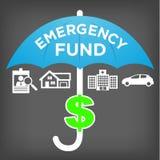 Icônes et parapluie financiers du fonds de secours Images stock