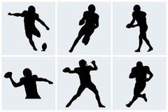 Icônes et silhouettes de joueur de football Images libres de droits