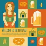 Icônes et symboles d'Oktoberfest dans le style plat Photos stock