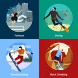 Icônes extrêmes des personnes 2x2 de sports réglées Images stock
