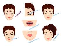 Icônes faciales de chirurgie esthétique illustration stock