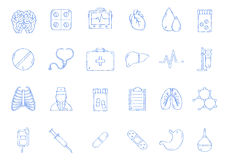 Icônes faites main de médecine Photo libre de droits