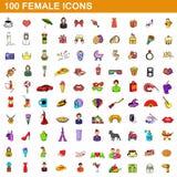 100 icônes femelles réglées, style de bande dessinée illustration libre de droits