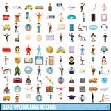 100 icônes fonctionnantes réglées, style de bande dessinée Photographie stock