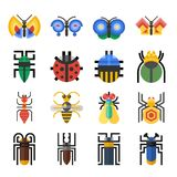 Icônes géométriques d'insectes réglées Image libre de droits
