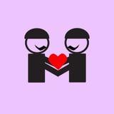 Icônes gaies de couples de mariage Images libres de droits