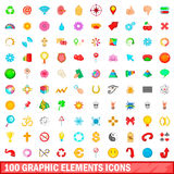 100 icônes graphiques d'éléments réglées, style de bande dessinée Image stock
