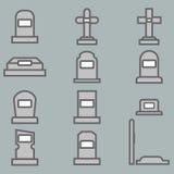 12 icônes graves de vecteur réglées Image stock