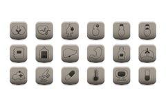 Icônes grises médicales Photos stock