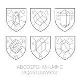 Icônes héraldiques avec la partie de pierres précieuses Photos libres de droits