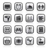 Icônes hôtel et d'équipements noirs et blancs de motel Image stock