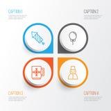 Icônes heureuses réglées Collection de feu d'artifice, tasse d'hiver, neige Person And Other Elements Inclut également des symbol Images stock