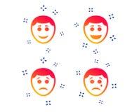 Ic?nes humaines de visage de sourire Heureux, triste, cri Vecteur illustration de vecteur