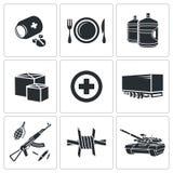 Icônes humanitaires de soulagement réglées Photo stock
