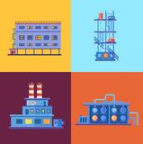 Icônes industrielles de bâtiments d'usine de vecteur réglées dedans Photo stock