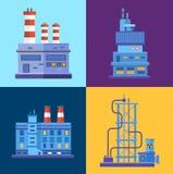 Icônes industrielles de bâtiments d'usine de vecteur réglées dedans Image stock