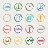 Icônes industrielles et logistiques de couleur Image stock
