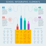 Icônes Infographic de diagramme et d'école de barre de mise en valeur Photographie stock