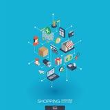 Icônes intégrées de achat du Web 3d Concept isométrique de réseau de Digital Photographie stock libre de droits