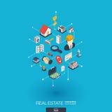 Icônes intégrées du Web 3d d'immobiliers Concept isométrique de réseau de Digital Images stock