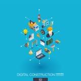 Icônes intégrées du Web 3d de site Web en construction Concept isométrique de réseau de Digital Image stock