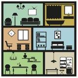 Icônes intérieures de meubles Photos stock