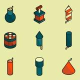 Icônes isométriques d'ensemble de couleur de pyrotechnie illustration stock