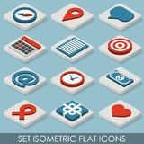Icônes isométriques d'ensemble plat Images stock
