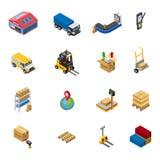Icônes isométriques d'entrepôt réglées illustration stock