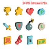 8 icônes isométriques de bit illustration de vecteur