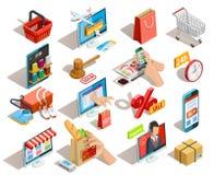 Icônes isométriques de commerce électronique d'achats réglées illustration libre de droits