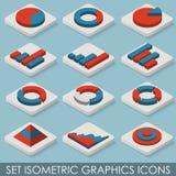 Icônes isométriques de graphiques d'ensemble plat Infographie Photographie stock